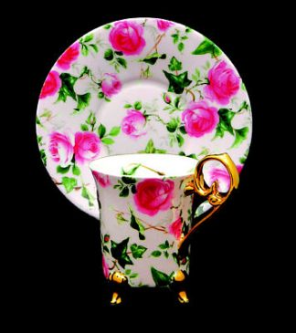 Pink Chintz Footed Demitasse