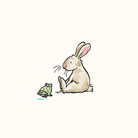 Baby Rabbit With Frog Small Wall Tile Two Bad Mice