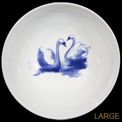 Blue and White Swan Bowl