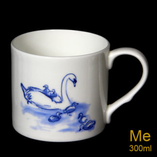 Blue swan and signets mug