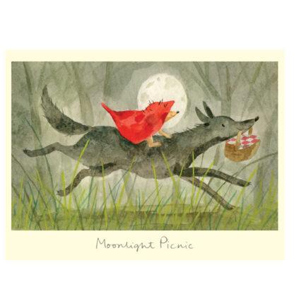 Moonlight picnic greeting card