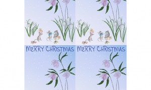 Christmas Rose and Mice Single sheet Insert